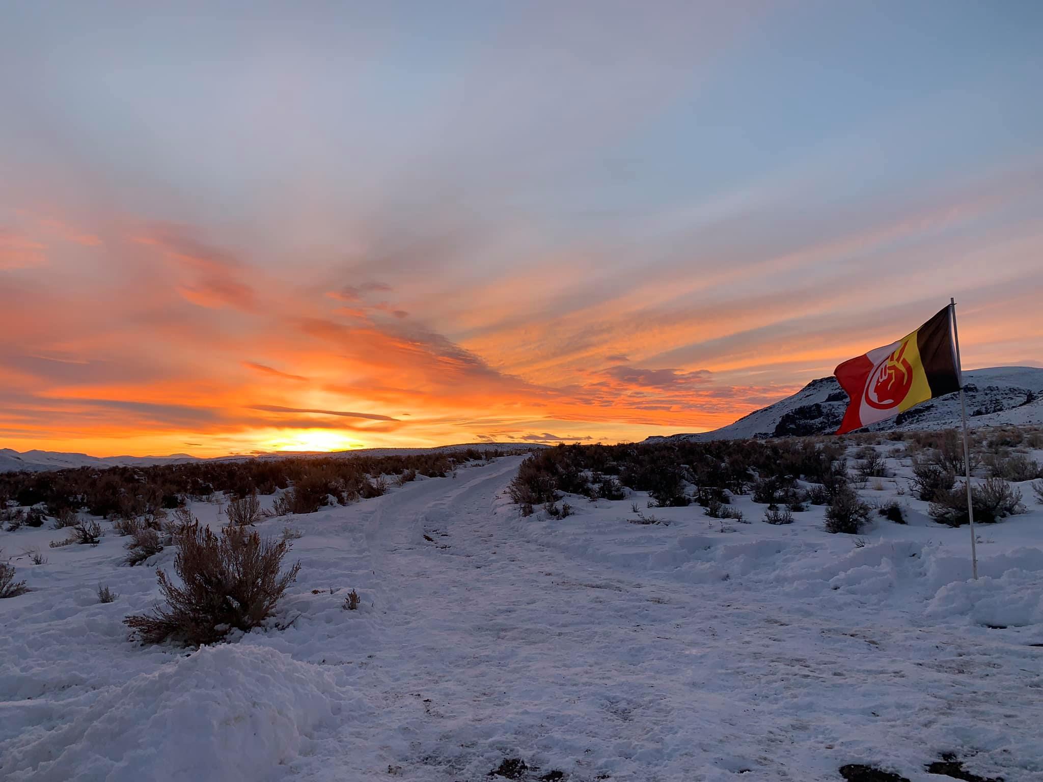 Flag at sunset